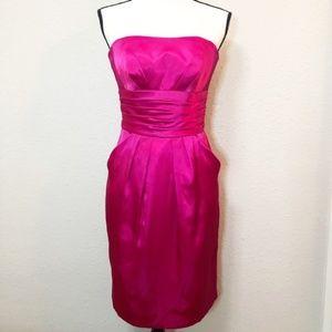 David's Bridal Fushia Pink Strapless Dress Size 2